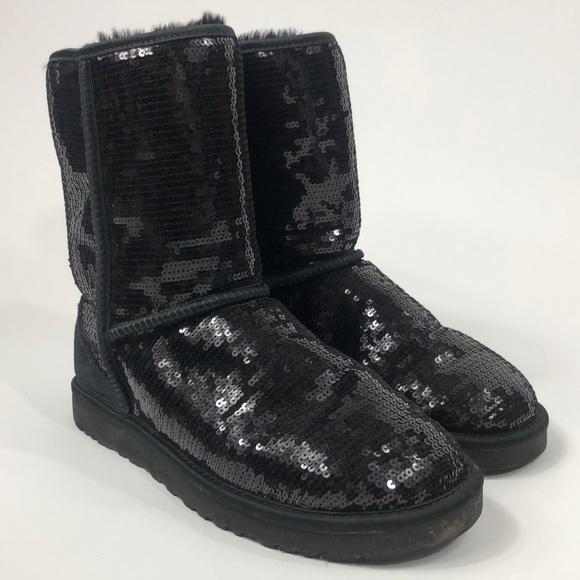 16af542f889 Ugg 3161 black sequin sparkle classic boots size 9